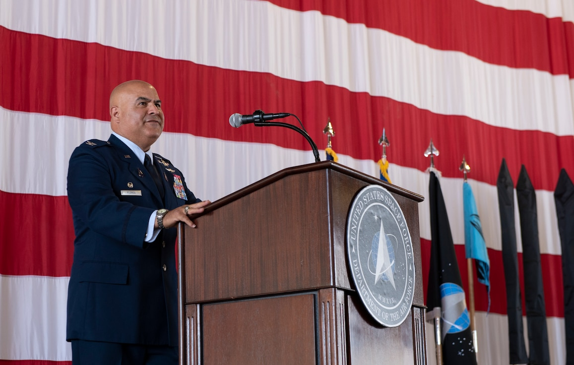 Commander gives speech during a ceremony