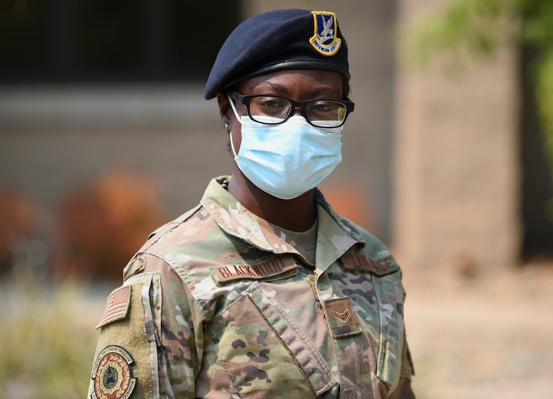 Airman 1st Class Nadine Blackwood, 9th Security Forces Squadron installation entry controller, poses for a photo Aug.27, 2021, at Beale Air Force Base, California.