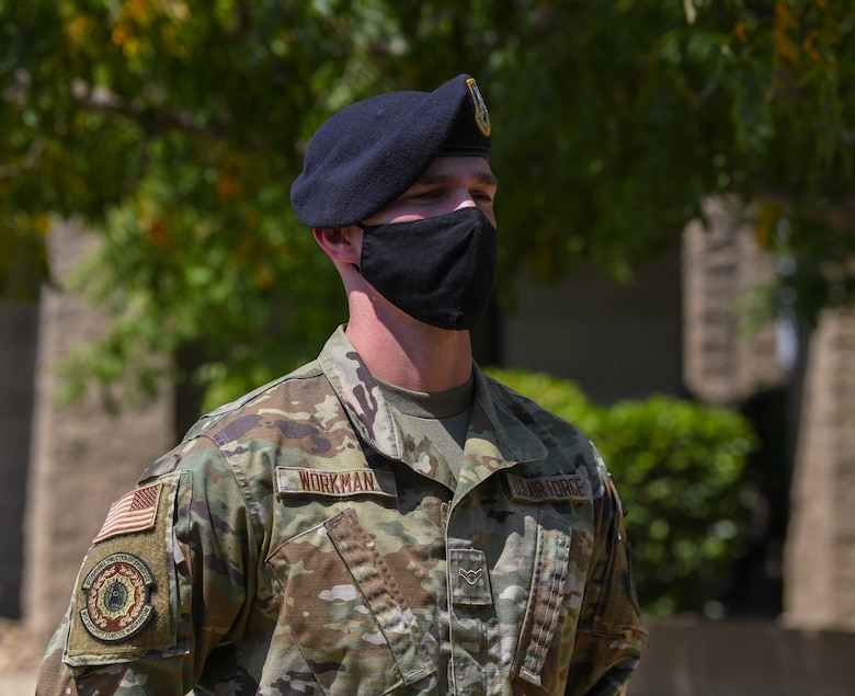 Airman Samuel Workman, 9th Security Forces Squadron installation entry controller, poses for a photo Aug. 26, 2021, at Beale Air Force Base, California.