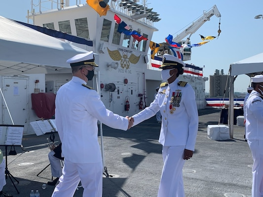 Military Sealift Command in the Atlantic (MSCLANT) changed hands when Navy Capt. Daniel E. Broadhurst relieved Navy Capt. Janice G. Smith as commodore of Norfolk-based Military Sealift Command Atlantic during a change of command ceremony held aboard USNS Comfort at Naval Station Norfolk, August 27, 2021.