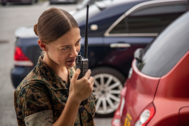 U.S. Marine Corps Cpl. Madison Shoemaker, a transmission system operator with G-6 communications, Headquarters and Support Battalion, conducts a radio check on Camp Foster, Okinawa, Japan, Aug. 18, 2021. Radio maintenance Marines ensure Marine Corps Installations Pacific first responders, and base dispatches consistently have working communication equipment throughout Okinawa by repairing or programming radios, and managing radio data. Shoemaker is a native of Saint Cloud, Florida. (U.S. Marine Corps photo by Lance Cpl. Jonathan A. Beauchamp)