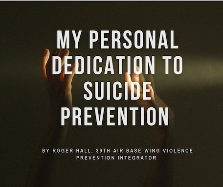 My personal dedication to suicide prevention in text