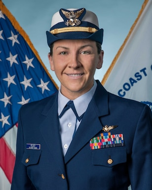 Lt. Cmdr. Katherine Pelkey is the Coast Guard recipient of the 2021 Federally Employed Women Meritorious Service Award.