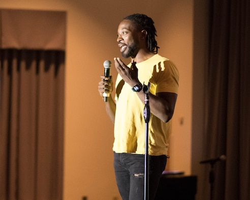 Preacher Lawson, a stand-up comedian, performs at The Landings on Dover Air Force Base, Delaware, Aug. 27, 2021. Lawson has been performing since he was 17 years old and was a finalist on season 12 of America's Got Talent. (U.S. Air Force photo by Mauricio Campino)
