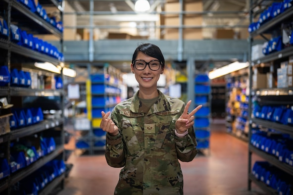 U.S. Air Force Staff Sgt. Angela Martinez, the 354th Civil Engineering Squadron (CES) noncommissioned in charge of material control, checks inventory on Eielson Air Force Base, Alaska, Aug. 5, 2021.