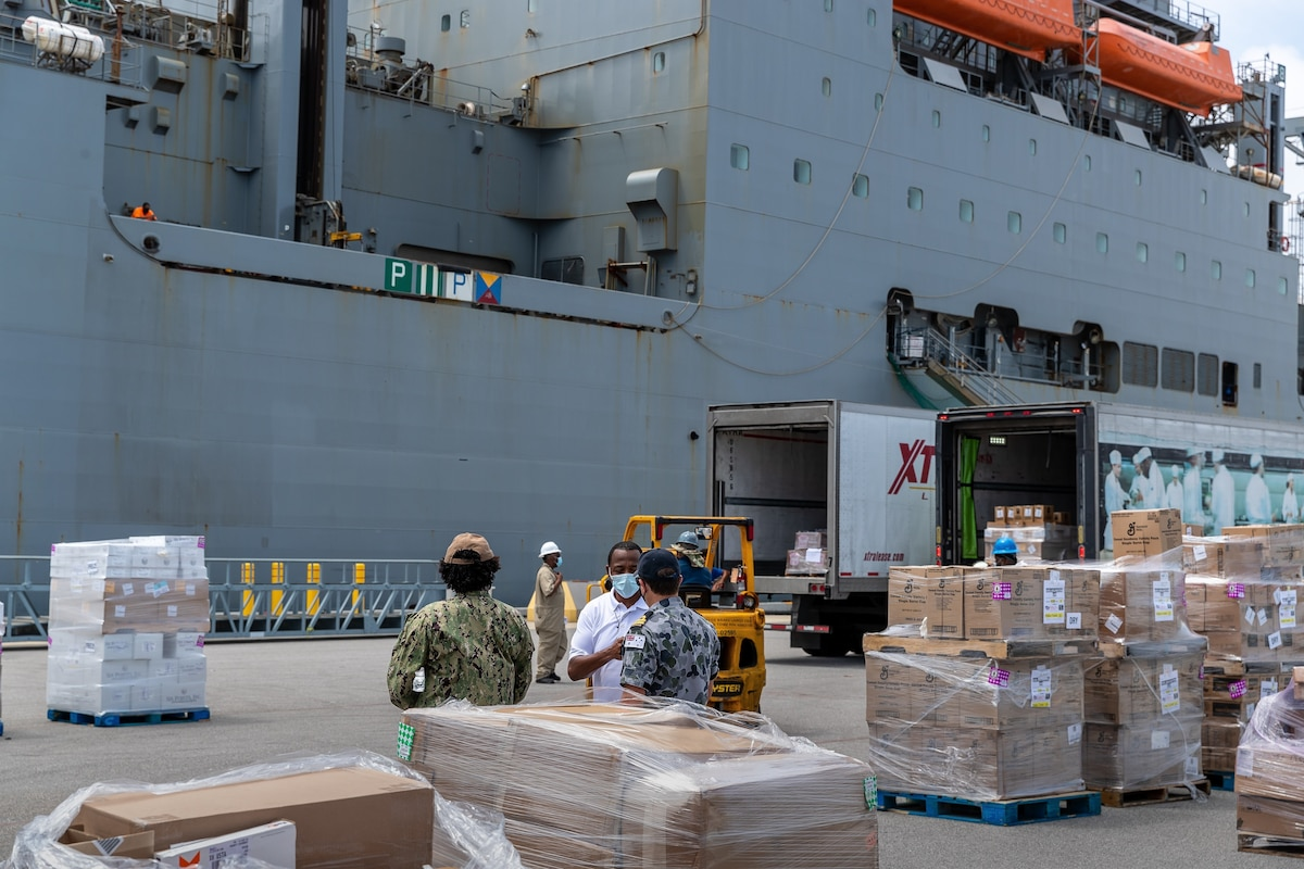U.S. Naval Supply Systems Command Fleet Logistics Center and  partners at Naval Station Mayport to load provisions and supplies aboard USNS Medgar Evers (T-AKE-13) in support of Joint Task Force-Haiti relief efforts.