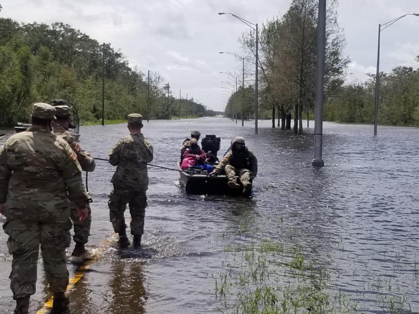 Members of the Louisiana National Guard rescue people from high water in south Louisiana caused by Hurricane Ida. As of Aug. 31, 2021, Guardsmen had rescued 359 people and 55 pets either by high-water vehicles, by boats or by air.