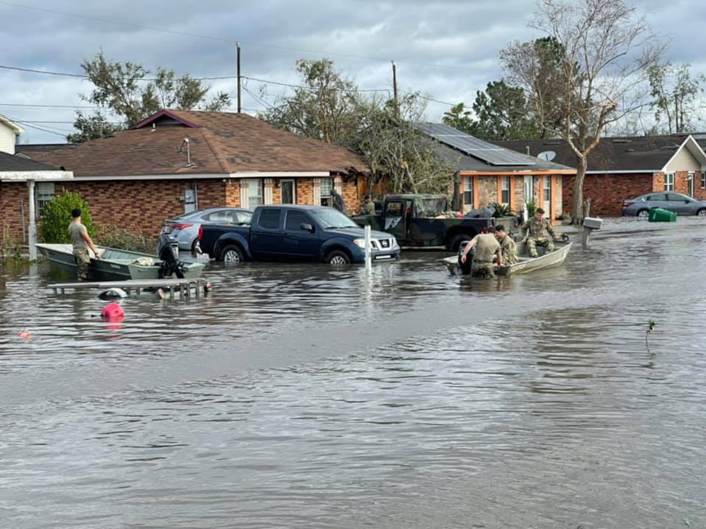 The Louisiana National Guard has rescued 359 people and 55 pets either by high-water vehicles, by boats or by air during the aftermath of Hurricane Ida, which made landfall in south Louisiana Aug. 29, 2021, as a Category 4 storm with 150 mph winds.