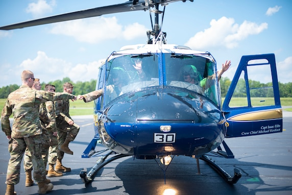 The University of Virginia's Det. 890 ROTC cadets board a helicopter flown by two 1st Helicopter Squadron pilots.