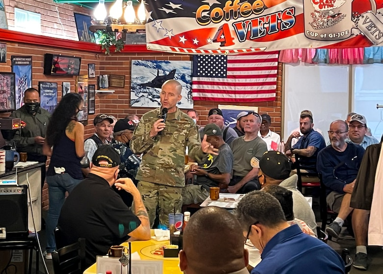412th Test Wing commander, Brig. Gen. Matthew Higer, addresses local Veterans at a Coffe4Vets breakfast at a local diner in Lancaster, California, Aug. 31. (Air Force photo by Danny Bazzell)