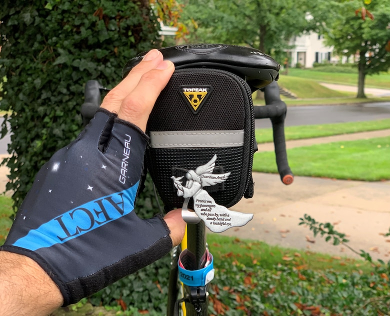 A 'guardian angel' clip that Brig. Gen. Jason Lindsey, received from a local resident at a rest stop in Aurelia, Iowa, during RAGBRAI, an annual bicycle ride across the State of Iowa.