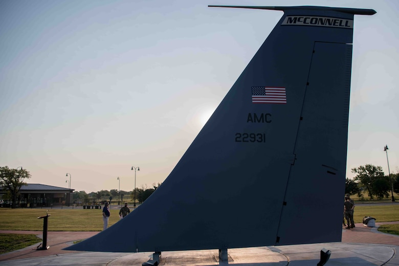 A KC-135 Stratotanker static display tail was revealed Aug. 31, 2021, at McConnell Air Force Base, Kansas. McConnell celebrated the legacy of the KC-135 along with the 65th anniversary of the Stratotanker's maiden flight. (U.S. Air Force photo by Senior Airman Marc A. Garcia)