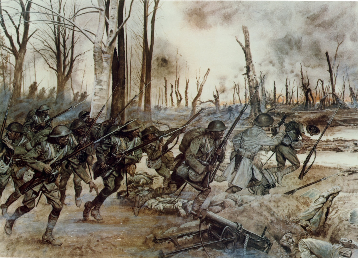 In this National Guard historic painting by H. Charles McBarron, Soldiers of the 369th Infantry Regiment, the Harlem Hellfighters, go into action near  Sechault, France, on Sept. 29, 1918, during the Meuse-Argonne offensive. Originally the 15th New York from Harlem, the center of African American culture in the early 20th century, the  unit earned the nickname Hellfighters from its German enemies. While the nickname has been used for more than 100 years – currently by the 369th Sustainment Brigade – it was only officially recognized by the Army in September 2020.