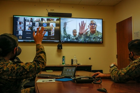 U.S. Marines with U.S. Marine Corps Forces, South, participate in a virtual subject matter expert exchange at U.S. Southern Command in Miami, Florida, Jan. 27, 2021