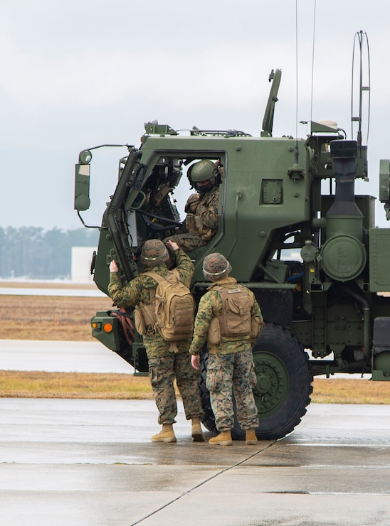 U.S. Marines conduct training on a M142 High Mobility Artillery Rocket System on Marine Corps Air Station New River, North Carolina, Jan. 26, 2020. MCAS New River provided training that included unloading M142 HIMARS from a Lockhead C-130 Hercules. (U.S. Marine Corps photo by Cpl. Ginnie Lee)