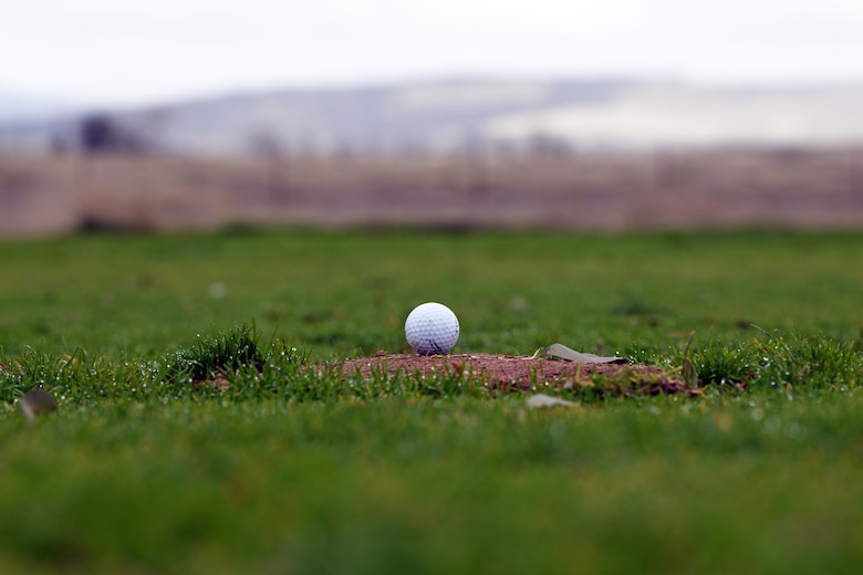 A golf ball sits at the Coyote Run Golf Course Jan. 29, 2021 at Beale Air Force Base, California. Coyote Run Golf Course is currently in the process of being closed down due to decreased utilization and revenue generated from the course. (U.S. Air force photo by Airman 1st Class Luis A. Ruiz-Vazquez)