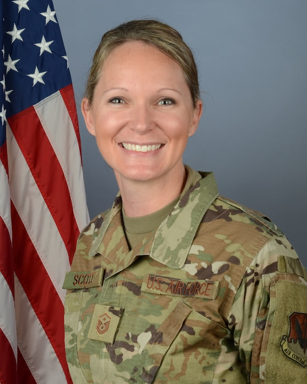 U.S. Air Force Master Sgt. April Scott, 169th Security Forces Squadron first sergeant at McEntire Joint National Guard Base, South Carolina, Jan. 10, 2021. (U.S. Air National Guard photo by Tech. Sgt. Megan Floyd, 169th Fighter Wing Public Affairs)