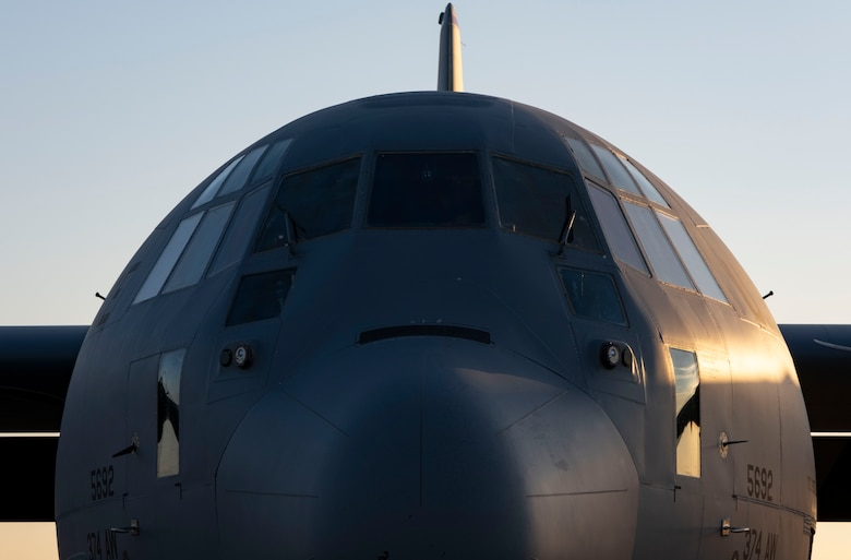 A C-130J Super Hercules assigned to the 36th Airlift Squadron prepares for an air drop mission supporting Joint Exercise Littoral Strike, at Yokota Air Base, Japan, Jan. 22, 2021.