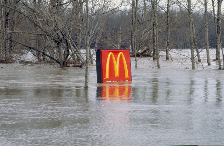 A McDonalds sign shows the magnitude of the flooding in some parts of Oregon during the Flood of 1996.