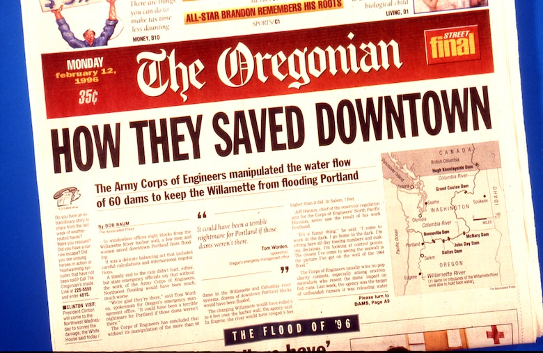 The Oregonian recognized the Corps' efforts to save the downtown Portland area from the flooding.