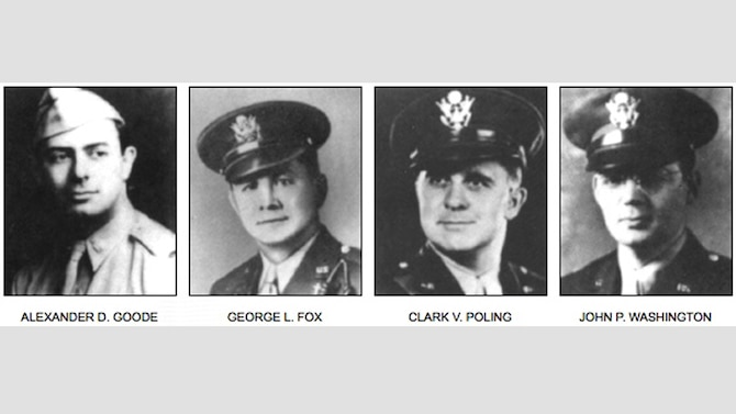 Shown are the official photos of the U.S. Army chaplains, Lt. George Fox, a Methodist minister; Lt. Alexander Goode, a Jewish rabbi; Lt. John Washington, a Roman Catholic priest; and Lt. Clark Poling, a Dutch Reformed minister. All four perished with the sinking of the SS Dorchester (SC-290583) after being struck by a German torpedo, Feb. 3, 1943. In 1988, Congress honored them by establishing Feb. 3 as Four Chaplains Day. (Courtesy photo)