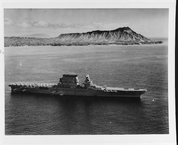 The USS Lexington (CV-2) off Honolulu, Oahu, Hawaii.