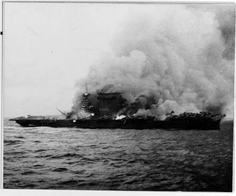 The burning and sinking of the USS Lexington (CV-2) after her crew abandoned ship during the Battle of Coral Sea.