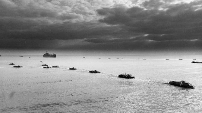 Russian Military Ships and Amphibian Landing Parties Take Beach