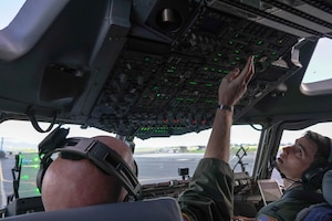 Lt. Col. Andrew Powers and Capt. Rocque Gartland, 535th Airlift Squadron instructor pilots prepare for take-off in the C-17 Globemaster on Joint Base Pearl Harbor Hickam, Hawaii, January 31, 2021. The Hula Bowl is an all-star classic game played in Honolulu, a tradition dating back to 1946.  (U.S. Air Force photo by Airman 1st Class Makensie Cooper)