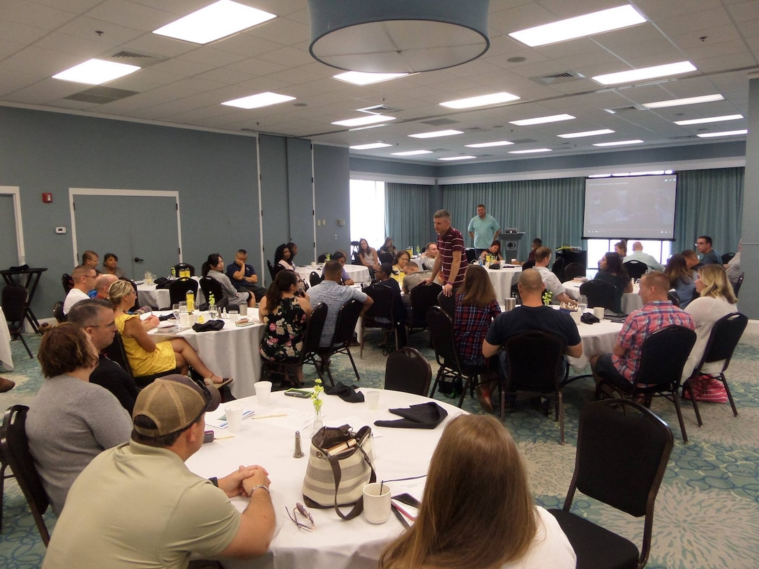 U.S. Army Reserve Soldiers and Families of the U.S. Army Civil Affairs and Psychological Operations Command (Airborne) meet for a Strong Bonds training event in Myrtle Beach, N.C., 25-26 August, 2018.