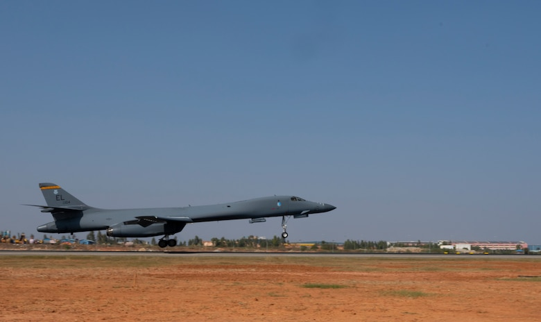 A B-1B Lancer assigned to the 34th Expeditionary Bomb Squadron, Ellsworth Air Force Base, S.D., lands at Kempegowda International Airport in Bengaluru, India, following a 26-hour sortie, Feb. 1, 2021. The B-1 is a multi-role, long-range bomber capable of carrying the largest conventional payload of both guided and unguided weapons in the U.S. Air Force inventory. (U.S. Air Force photo by Senior Airman Christina Bennett)