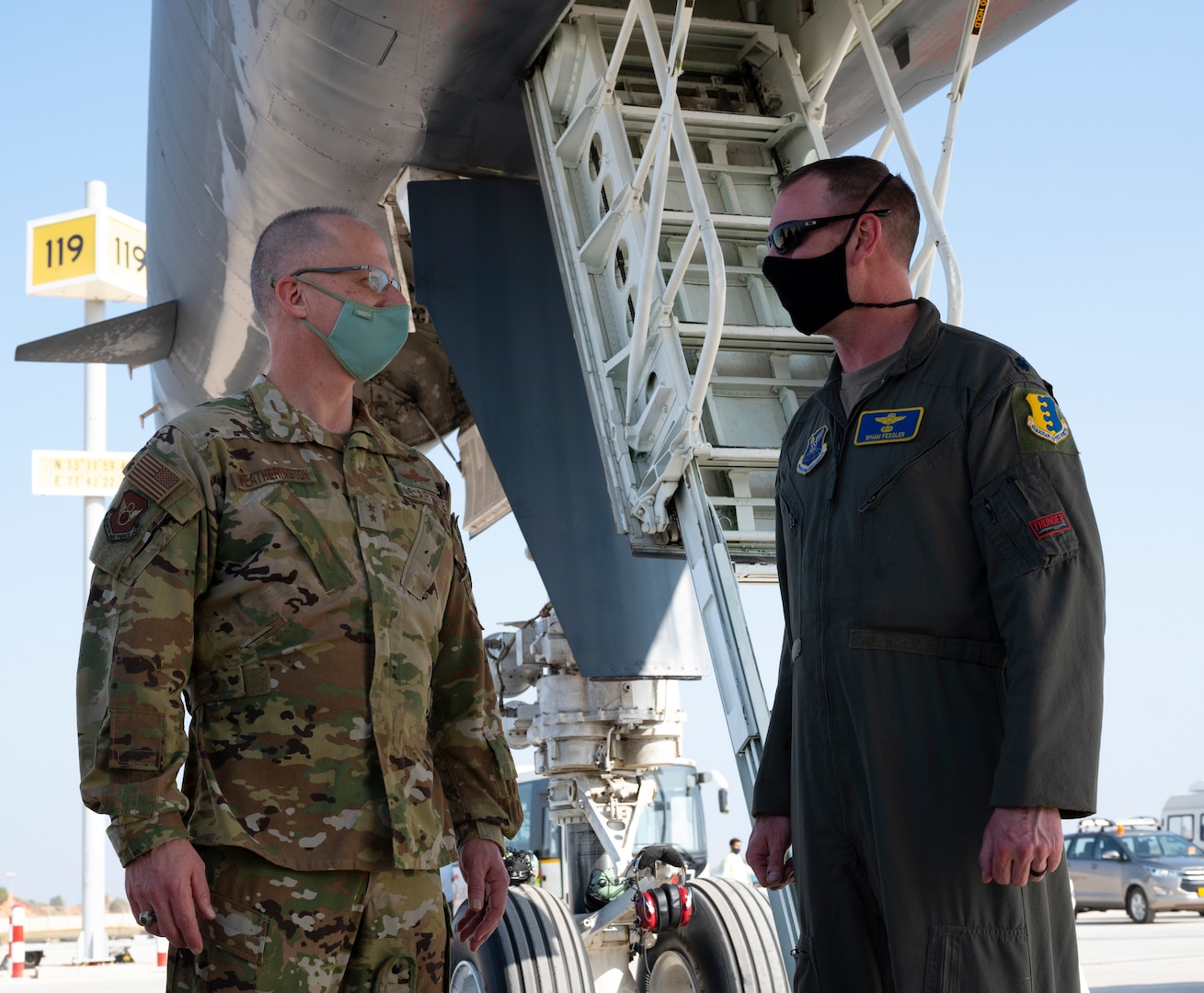 Maj. Gen. Mark Weatherington, the Eighth Air Force commander, greets Lt. Col. Michael Fessler, the 34th Expeditionary Bomb Squadron commander, at Kempegowda International Airport in Bengaluru, India, Feb. 1, 2021. Fessler was part of a four-member crew that flew a B-1B Lancer from Ellsworth Air Force Base, S.D., to India to participate in the Aero India 2021 tradeshow. The non-stop, 26-hour sortie demonstrates the long-range capabilities of the B-1B and its aircrew. (U.S. Air Force photo by Senior Airman Christina Bennett)