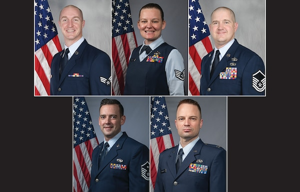 The 131st Bomb Wing Outstanding Airmen of the Year, from top left, Senior Airman Marc Tiernan, 131st Mission Support Group; Staff Sgt. Brittney Schneider, 131st Mission Support Group; Master Sgt. Benjamin Middleton, 157th Air Operations Group; Master Sgt. John Hendrix, 131st Maintenance Group; Capt. Ken Pederson, 131st Maintenance Group. (U.S. Air National Guard photo illustration by Tech. Sgt. John E. Hillier)