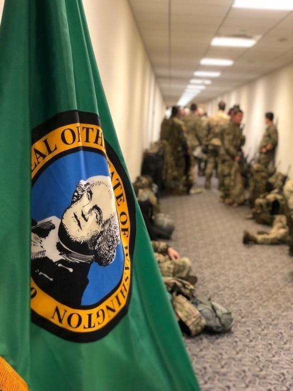 Guardsmen in waiting area in Washington D.C.