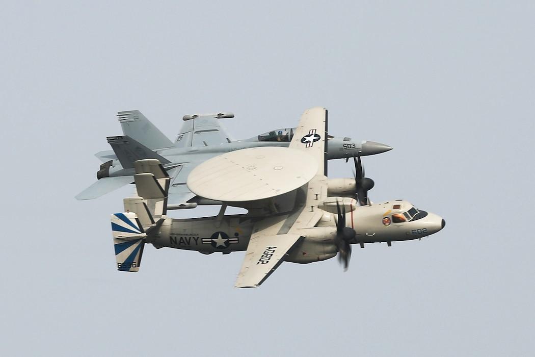 An EA-18G Growler and a E-2D Hawkeye