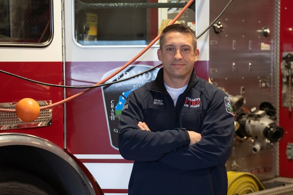Mr. Brannon Soter stands for a portrait at the 158th Fighter Wing fire department.