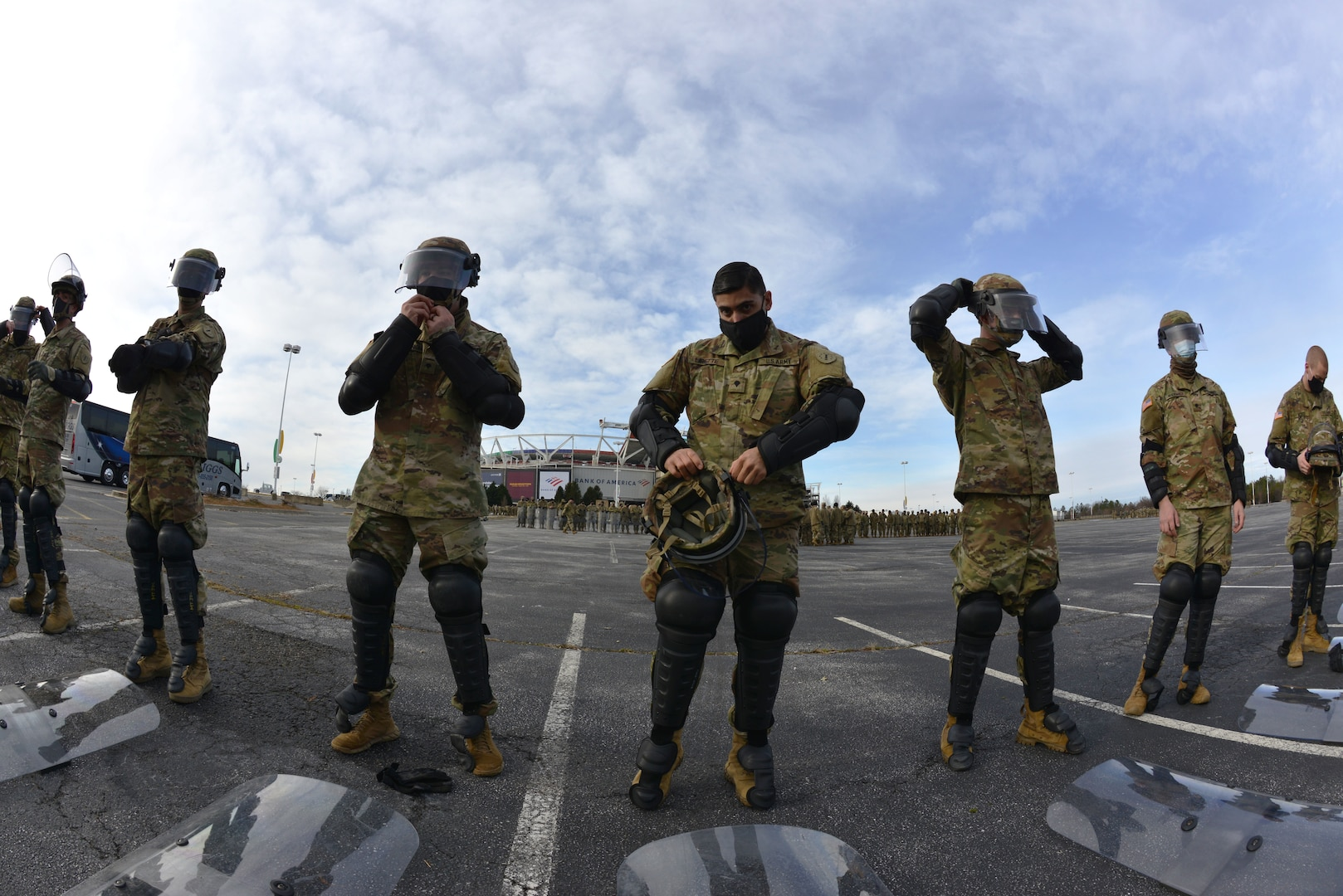 New Hampshire guardsmen conduct civil disturbance training in the FedExField parking lot Jan. 18, 2021, in Landover, Md.