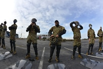 New Hampshire guardsmen conduct civil disturbance training in the FedExField parking lot Jan. 18, 2021, in Landover, Md.