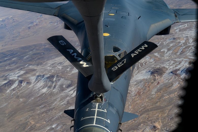 Aircraft refuels over the Nevada Test and Training Range.