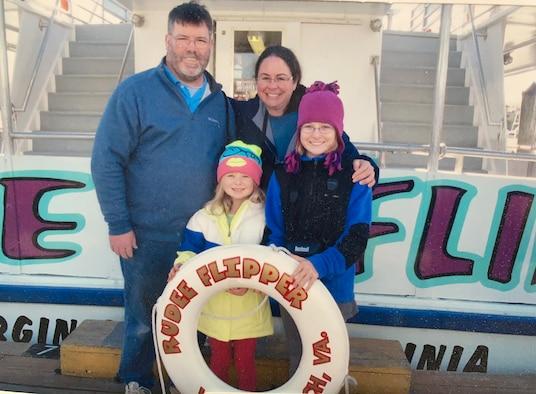 Maj. Angela Cronan with her family on a trip.