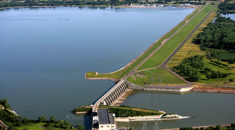 Aerial view of Gavins Point Dam, Lewis and Clark Lake.