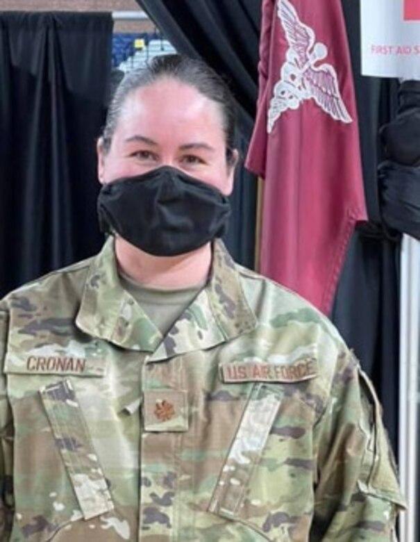 Maj. Angela Cronan at work at the D.C. Armory.