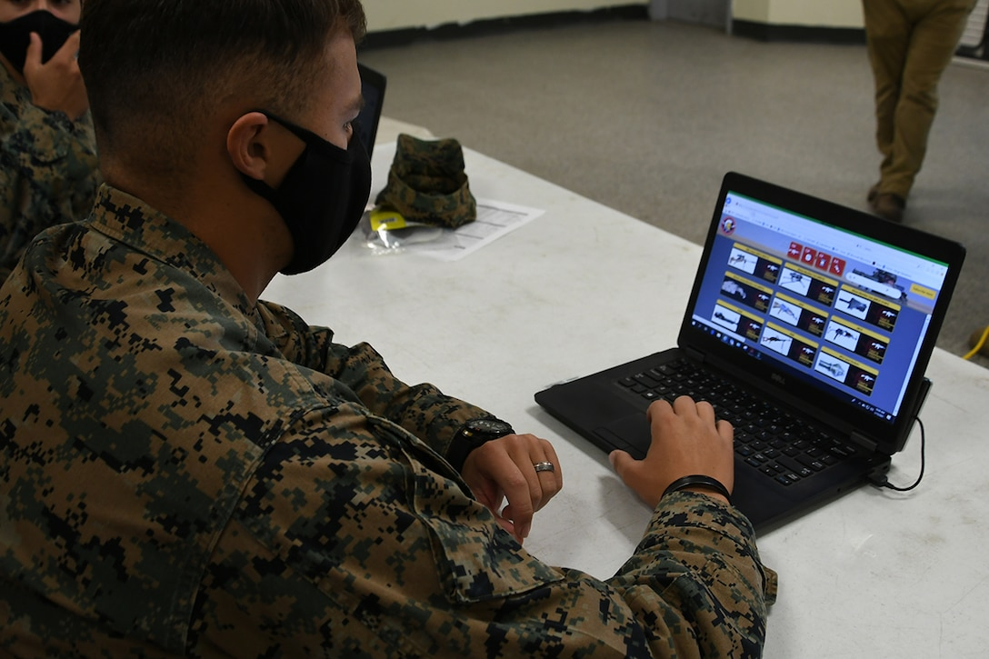 A U.S. Marine reviews and provides feedback on a new Marine Corps website aboard Marine Corps Base Camp Pendleton, Calif., Jan. 15.