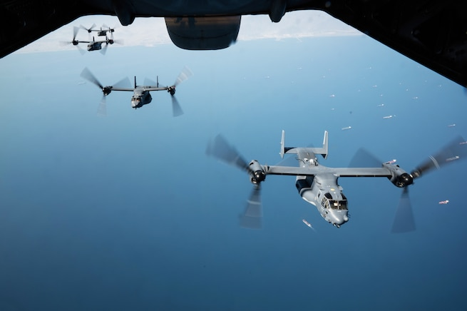 U.S. Air Force CV-22 Ospreys fly in formation in the U.S. Central Command area of responsibility Jan. 29, 2021. The CV-22s mission is to conduct long-range infiltration, exfiltration and resupply missions in the USCENTCOM area of responsibility. (U.S. Air Force photo by Staff Sgt. Sean Carnes)