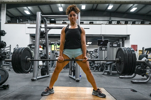 U.S. Air Force Staff Sgt. Ana Villacorta, 380th Expeditionary Force Support Squadron production log manager, performs a deadlift at Al Dhafra Air Base, United Arab Emirates, Jan. 18, 2021.