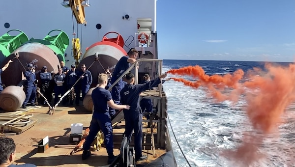 Crews on the Coast Guard Cutter Juniper conduct at-sea training to prepare for any and all scenarios while underway, Dec. 9, 2020. While underway, crews training regularly to maintain their qualifications. (U.S. Coast Guard photo courtesy of the Coast Guard Cutter Juniper)