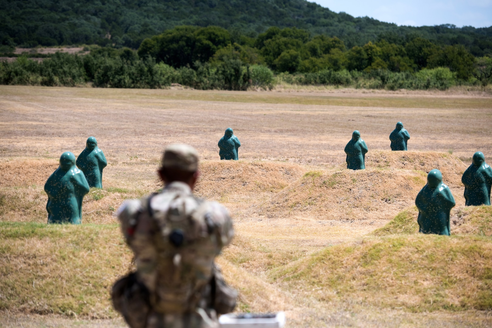 A U.S. Army Soldier participates in an event as part of the Army Drill Sergeant of the Year Competition Aug. 21, 2019, at Joint Base San Antonio-Camp Bullis, Texas.