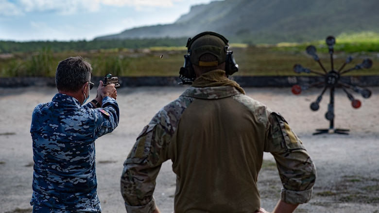A Royal Australian Air Force officer takes in firing practice on the range during Pacific Defender 21-1 on Andersen Air Force Base, Guam, January 29, 2021.