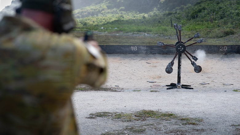 A Royal Australian Air Force officer takes in firing practice on the range during Pacific Defender 21-1 on Andersen Air Force Base, Guam, January 29, 2021