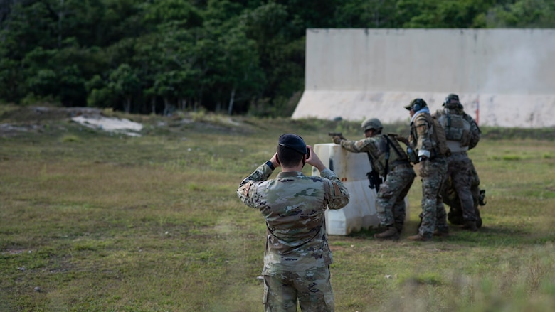 U.S. Air Force defender takes a defensive posture to fire down range during Pacific Defender 21-1 on Andersen Air Force Base, Guam, January 29, 2021